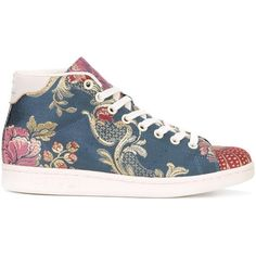 Adidas floral jacquard mid-top sneakers ($220) ❤ liked on Polyvore featuring shoes, sneakers, blue, colorful sneakers, multi colored sneakers, blue shoes, blue floral shoes and floral sneakers