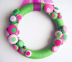 Yarn and Felt Wreath - Watermelon - Dot and Bauble - Pink Lime Green Fuchsia. $40.00, via Etsy.