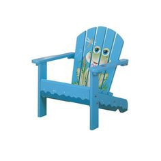 Found it at Wayfair - Froggy Porch Kid's Adirondack Chair in Blue Kids Outdoor Furniture, Toddler Furniture, Rustic Furniture, Porch Furniture, Furniture Projects, Wood Projects, Woodworking Projects, Painted Chairs, Hand Painted Furniture