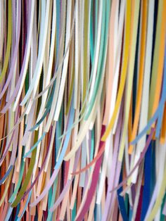Pink Interference (detail) by Peter Combe, (thousands of shredded paint swatches)