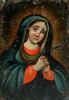 Anónimo mexicano, Virgen dolorosa, óleo sobre lámina de cobre, sin medidas, ca. 1830-80, colección no identificada, catalogación: Juan Carlos Cancino.