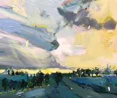"""landscape outside geelong"" ... shapes fragmenting then whirling together again...but ultimately it's about light. That's what moves me! #interiordesigners #australianartist #oiloncanvas"