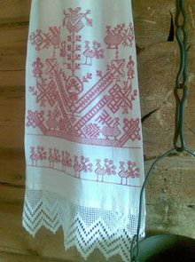 Red stitches (punakirjonta) have been common especially in eastern Finland. Russian Embroidery, Folk Embroidery, Embroidery Patterns, Machine Embroidery, Scandinavian Embroidery, Learn How To Knit, Running Stitch, Embroidery Techniques, Needlework