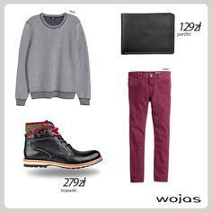 Modny mężczyzna nie boi się kolorów! Spodnie w burgundowym kolorze idealnie współgrają z prostym swetrem w odcieniach szarości. W całości nie może zabraknąć czarnego portfela Wojas (4959-91) oraz trzewików Wojas(4299-51) dostępnych w promocyjnej cenie 279 zł.