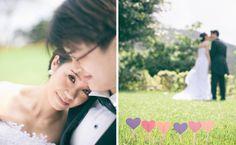 Hearts all around: cute outdoor wedding photography idea