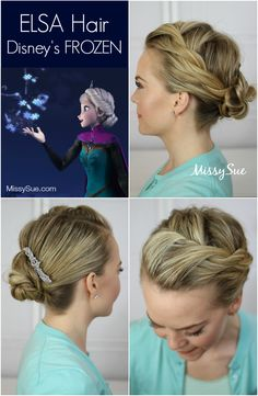"Elsa Frozen Hair Tutorial...Instead of using both Bobby pins to hold, then adding a clip for the ""bling"", try using Lilla Rose ""You-Pins"" that do both, secure and bling! The Charming Stoneset You-Pin would look perfect with this look! www.lillarose.biz/CoveredInGlory"
