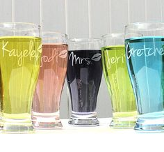 Stock the Bar beer Glasses w/ Her Name & Lips, Girls Night Out, Bridesmaid Gifts, Bachelorette Party Favors, 21st birthday, Cocktail Glasses