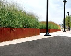 Stainless Steel planters as barrier
