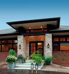 Prairie style home - Contemporary - Entry - Detroit - by VanBrouck & Associates, Inc. Prairie House, Prairie Style Houses, Modern Exterior, Exterior Design, Style At Home, Veranda Design, Front Porch Design, Porch Designs, Plans Architecture