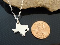 Tiny Sterling Silver Texas Necklace / Custom by KhrysosJewelry