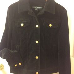 Black Lauren Jeans Co. Corduroy Jacket Black corduroy jacket in perfect condition because it was worn only once.  Pictures shows the rich fabric detail plus gold Lauren buttons and the leather tag at the back right-side. Lauren Jeans Co Jackets & Coats Jean Jackets