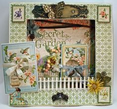 This gorgeous altered 12x12 Matchbook Box is by @Nancy Wethington using Secret Garden. Isn't this stunning? Love the fence! #graphic45