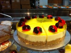 Zing! lemon cheesecake at Mitchells Café the blackcurrents in jelly are Pastry Chef Collete's speciality!