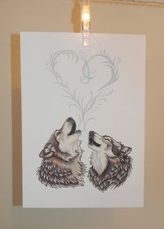 Wolf Song Print White Laid Card by LyndseyGreen on Etsy, New Crafts, Book Crafts, Love Drawings For Her, Great Tattoos, Awesome Tattoos, Dire Wolf, Funny Cards, Valentine Day Cards, Animal Design