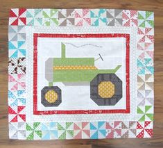 Bee In My Bonnet: The Quilty Barn Along - Fast and Easy Pinwheels Tutorial for the Vintagey Farm Girl Tractor Block !!!...