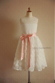 Ivory Rosette Lace Flower Girl Dress Keyhole Back for Wedding Baby Girl dress with Pink Bow Sash on Etsy, $46.99