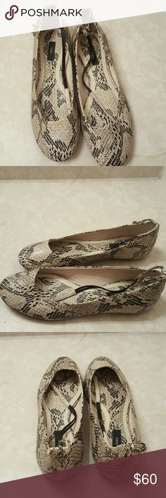 Women Zara Basic Snakeskin Flats Sz 7 (Like New) Like new only wore 3x they are super cute and comfortable made of snake skin material and have ankle straps plus they are flats Zara Shoes Flats & Loafers
