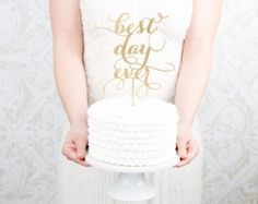 Best Day Ever Wedding Cake Topper - Gold- Soirée Collection