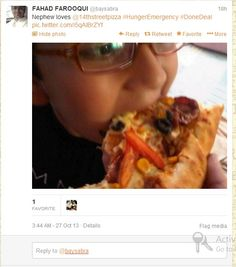 Our young fan enjoying #14thstreetpizza! :)