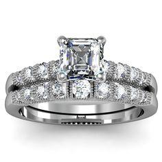 Asscher Milgrain Engagement Ring Wedding Set