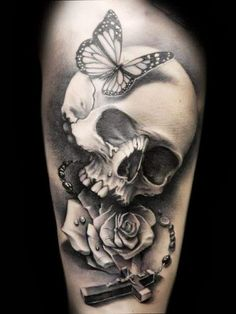Skull Tattoo | 52. An Evil Japanese Skull tattoo. It is very famous among asians.