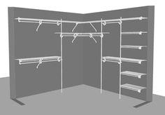 'L' Shape Closet 4 - x / x shape wardrobe 'L' Shape Closet 4 - x / x Make A Closet, Front Closet, Kid Closet, Wardrobe Closet, Master Closet, Closet Bedroom, Walk In Closet, Closet Ideas, Corner Wardrobe