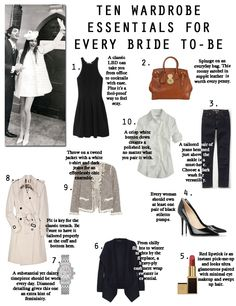 wardrobe essentials for the bride to-be