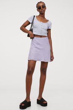 Rock in A-Linie - Helllila/Geblümt - Ladies | H&M DE H M Outfits, Mini Skirts, Lady, Fashion, Simple Lines, Shirt Skirt, Moda, Fashion Styles, Mini Skirt