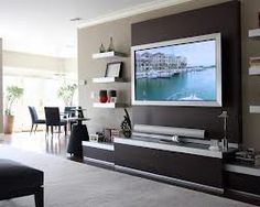decorating around flat screen tv wall - Google Search
