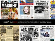 Ad: 7 Newspaper Style Templates by Newspaper Templates on This bundle of 7 old style and modern newspaper templates and flyers are for news, events, announcements, and general use. Newspaper Names, Newspaper Front Pages, Newspaper Cover, 100 Free Fonts, Free Fonts Download, Front Page Design, Poster Design, Flyer Design, Web Design