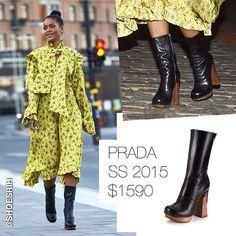 Prada black leather wooden-heel booties SS 2015 $1590, @badgalriri