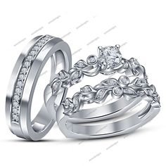 14K White Gold Finish in 925 Silver Round Cut Diamond Engagement Trio Ring Set #aonedesigns