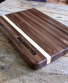 Red Rooster Butcher Block Cutting Board made from American hardwood with contrasting stripe - $124.95