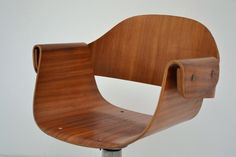 Desk chair 50s, curved wood with wheels, in good condition