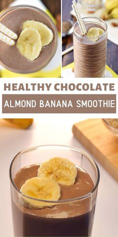 chocolate smoothie recipes Healthy Chocolate Almond Banana Smoothie is a quick and easy recipe for breakfast or snack! It is loaded with healthy ingredients for a boost of protein, vitamins, calcium, and fiber. Make this filling healthy recipe for later! Healthy Breakfast Smoothies, Easy Smoothie Recipes, Easy Smoothies, Easy Healthy Recipes, Dinner Healthy, Health Recipes, Easy Recipes For Breakfast, Smoothies With Dates, Quick And Easy Recipes