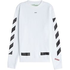 Off-White Printed Cotton Sweatshirt (600 AUD) ❤ liked on Polyvore featuring tops, hoodies, sweatshirts, white, mens oversized sweatshirt, mens crew neck sweatshirts, mens white sweatshirt and mens crewneck sweatshirts