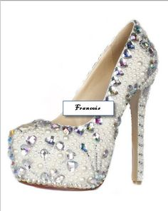 49696fda0f03 Custom Wedding Prom Shoes- White Pearls AB Rhinestone Platform Pumps Sizes  5.5-15