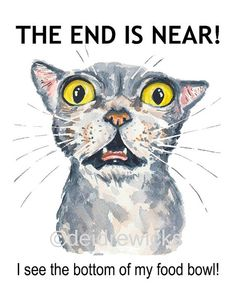 Cat Watercolor PRINT - 5x7 Illustration Print, End of the World, Funny Cat Painting, Animal Watercolour