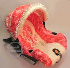 Custom 3D Rosette Coral with Coral Damask and Ivory Minky Infant Car Seat Cover 5 Piece Set on Etsy, $139.00