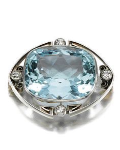 AQUAMARINE AND DIAMOND BROOCH, CIRCA 1900 Millegrain set to the centre with a cushion-shaped aquamarine, within an open work frame of stylised scroll design, further embellished with circular-cut diamonds, Russian assay marks.