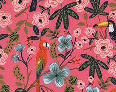 Rifle Paper Co. Cotton Rayon Lawn Paradise Garden Coral Fabric Modern Menagerie Collection Cotton + Steel Fabric Anna Bond Parrots Tropical