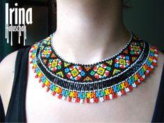 sead bead, beadwork, preciosa 10/0, ukraine, national jewelry, beaded necklace, beaded collar, http://irina-haluschak.blogspot.com/