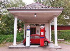 #Retro #car & gas station #vintagecar #vw #beetle #red #gasstation #esso