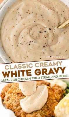 This classic White Gravy is ultra creamy, and speckled with plenty of black pepper. Perfect on chicken fried steak, fried chicken, mashed potatoes, biscuits and more! Easy to make with only 7 ingredients (including salt and pepper!). #gravy #whitegravy #peppergravy