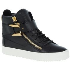 Giuseppe Zanotti Zip Mid-Top Sneaker ($685) ❤ liked on Polyvore featuring shoes, sneakers, platform trainers, zip sneakers, platform shoes, zipper sneakers and chunky shoes