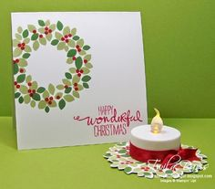Wonderous Wreath Bundle from Stampin' Up! Stamp A Little Longer Christmas Card Crafts, Christmas Scrapbook, Stampin Up Christmas, Christmas Projects, Handmade Christmas, Wondrous Wreath, Holiday 2014, Craft Show Ideas, Craft Sale