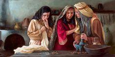 Juana y otras mujeres preparando las especias para el entierro de Jesús