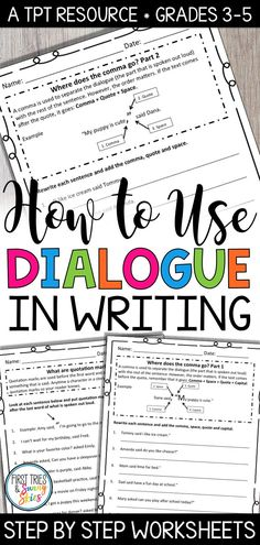 How to Use Dialogue in Writing Worksheet Packet - This perfectly sequenced worksheet bundle provides the scaffolding you need to help students master the skill of using dialogue in their writing. The process is broken down into easy to follow steps and each worksheet provides practice to reinforce the skill. Students will learn how to use dialogue in their own writing through simply following each step outlined in this packet. #writing #literacy #grammar