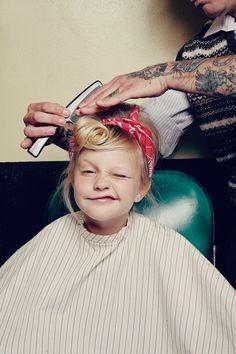 Little girl getting her hair cut. Tattoos, Rockabilly