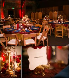 The Mitten Building, Redlands CA vintage circus theme wedding with red, black, gold and white. Gold circus animal place card holders, Ferris wheel tea-light candle holder centerpieces, red table linens and crystal candle holders. www.rachaelhallweddings.com